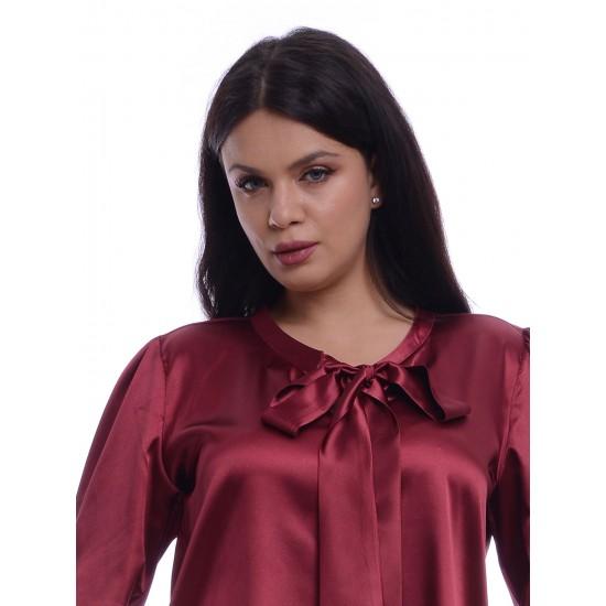 Bluza Dama Bordeaux de Satin cu funda ampla