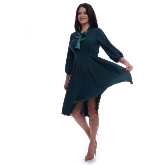 Rochie Dama Verde Ampla cu Esarfa din Satin
