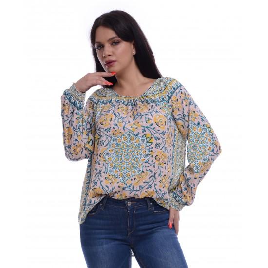 Bluza Dama Multicolora cu Imprimeu Simetric