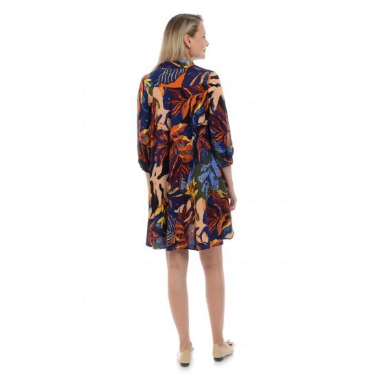 Rochie Dama cu Imprimeu de Toamna Multicolor