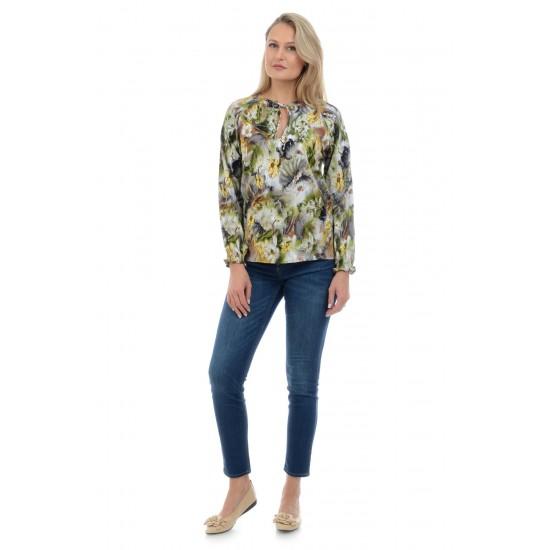 Bluza Dama Verde si Imprimeu cu Flori