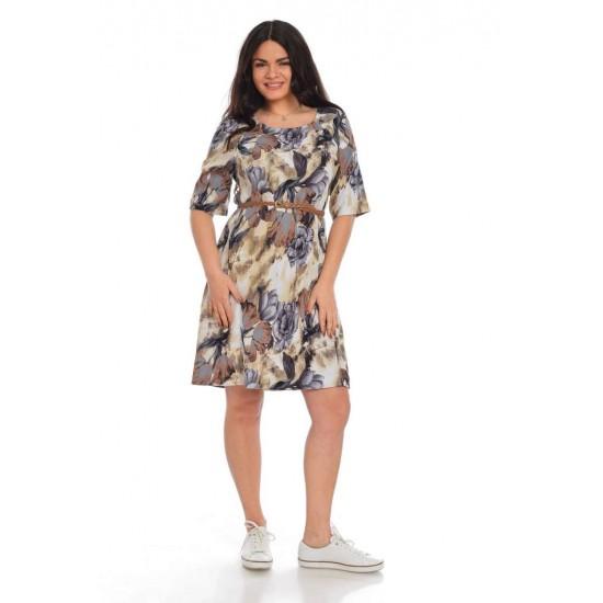Rochie Dama Midi cu curea impletita Multicolor