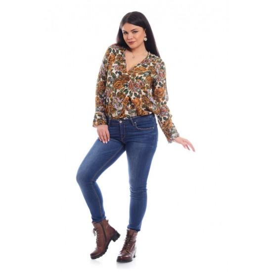 Bluza Dama Pliu cu Imprimeu Floral Maro