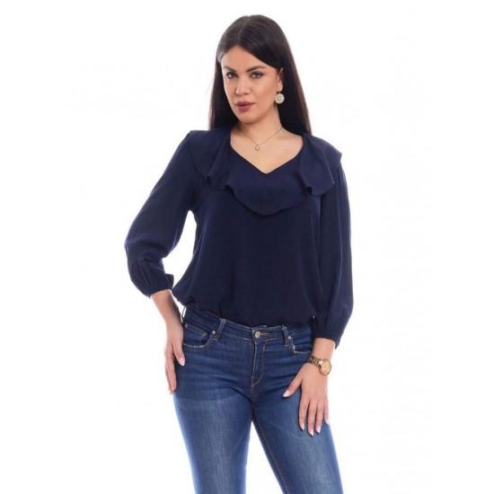 Bluza Dama cu Volane si Decolteu Bleumarin