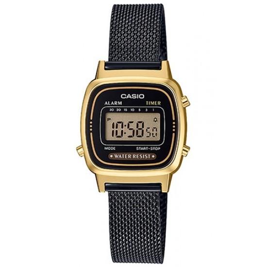 Ceas Dama CASIO VINTAGE GENT GOLD MESH BLACK LA-670WEMB-1E