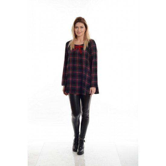 Tunica Dama Negru cu Rosu model Carouri
