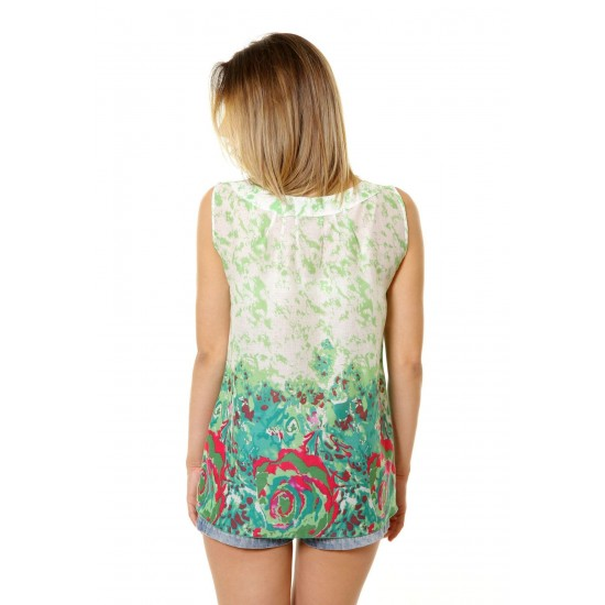 Bluza Verde Dama fara Maneci cu Model Floral