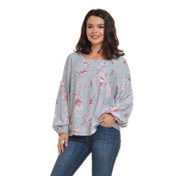 Bluza Dama Gri cu maneca bufanta si model floral