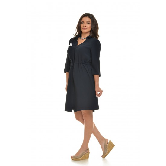Rochie bleumarin cu model camasa Office