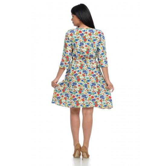 Rochie Dama cu Imprimeu Floral Multicolor