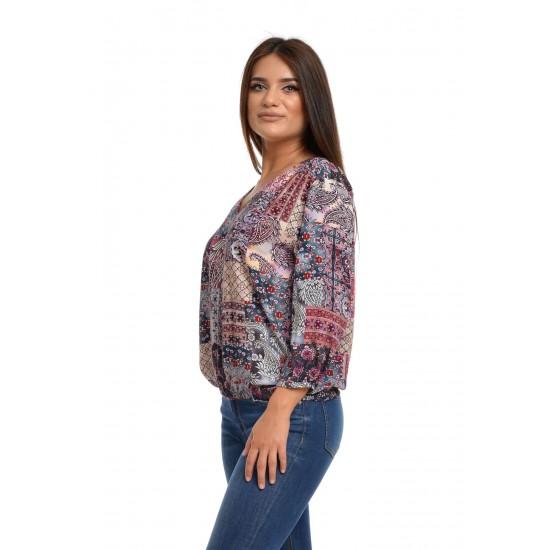 Bluza Dama Muticolora cu imprimeu si decolteu V