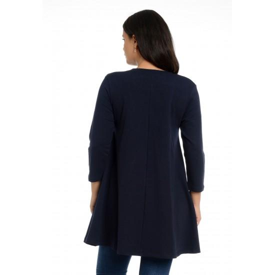Tunica Dama Albastra cu Buzunare cu Paiete