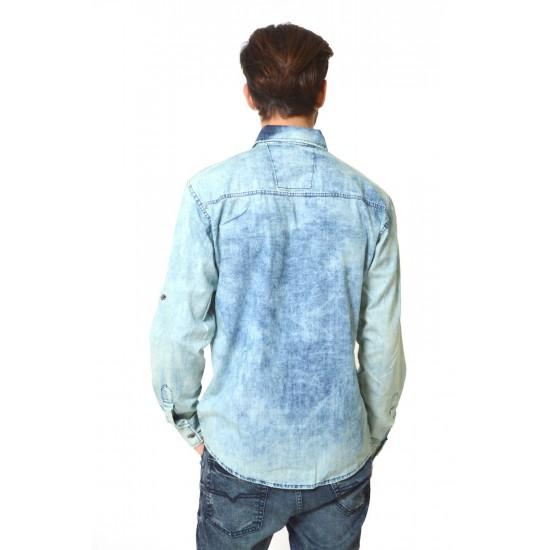 Camasa barbateasca din denim bleu - prespalata