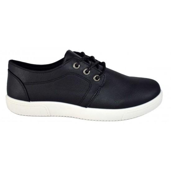 Pantofi Sport Barbatesti Negri cu talpa alba