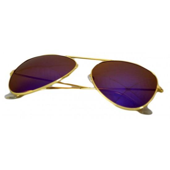 Ochelari de soare Aviator Albastru reflexii - Auriu-