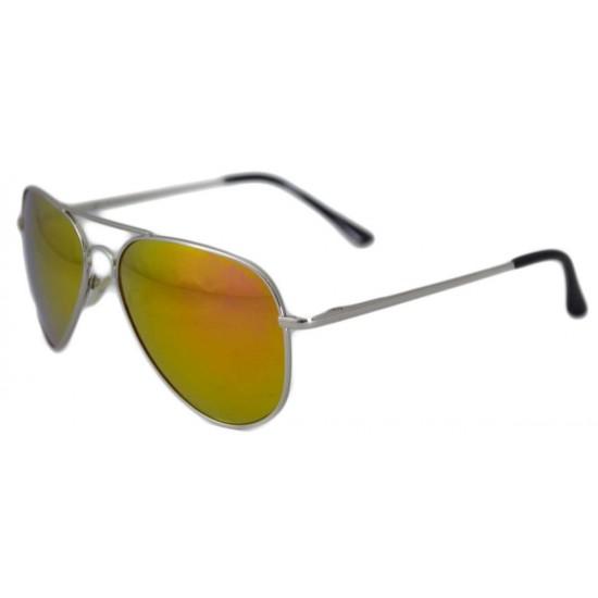 Ochelari de soare Aviator Portocaliu cu Argintiu-