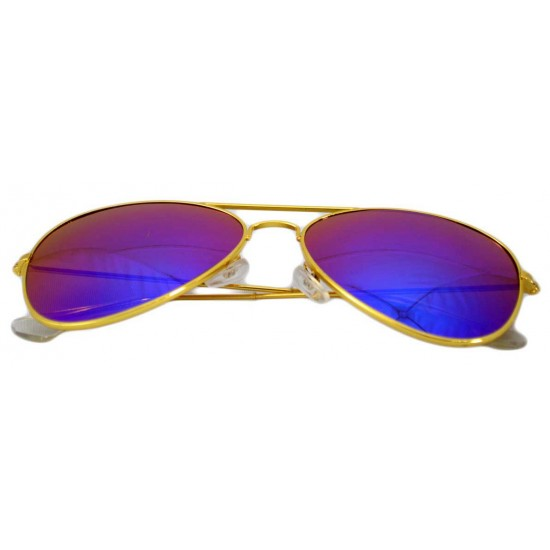 Ochelari de soare Aviator Albastru cu Auriu'