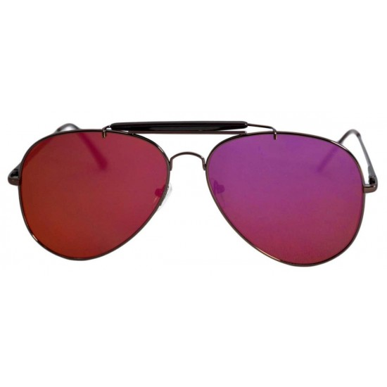 Ochelari de soare Aviator Outdoorsman mov cu reflexie galbena - Negru