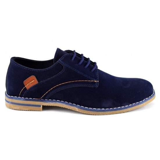 Pantofi barbatesti bleumarin piele intoarsa