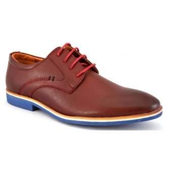 Pantofi barbatesti Maro-Bordo cu talpa albastra
