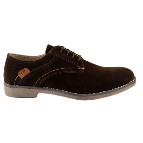 Pantofi barbatesti maro piele intoarsa