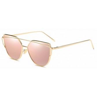Ochelari de soare Ochi de Pisica Oglinda Roz - Auriu