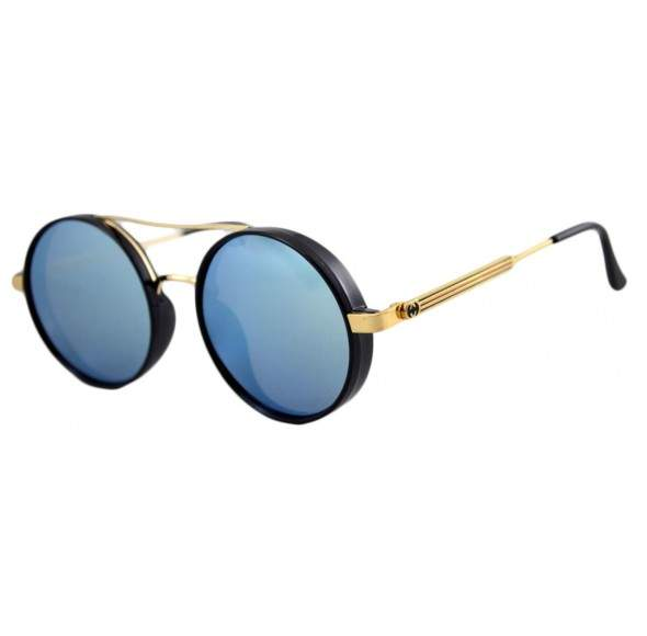 Ochelari de soare Rotunzi Bleu Oglinda - Auriu
