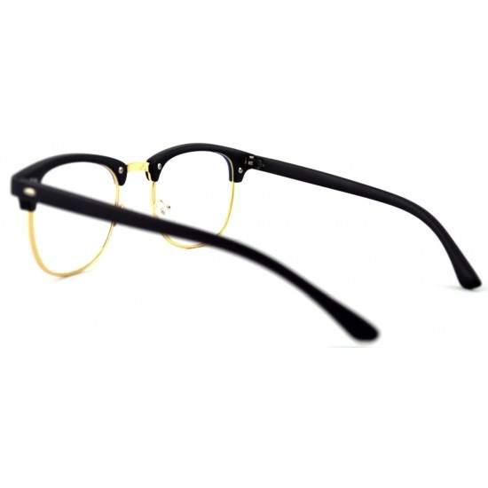 Ochelari - Rame cu lentile transparente Clubmaster Retro Negre cu Auriu
