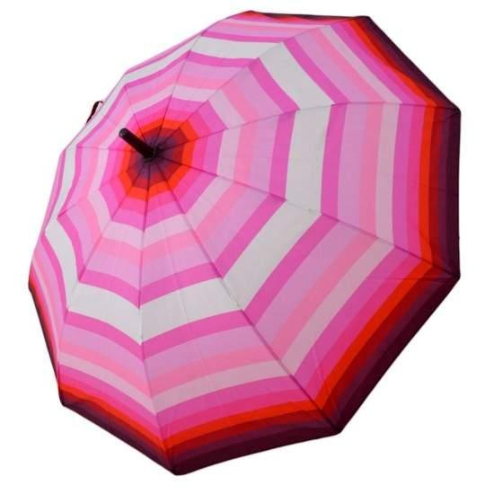 Umbrela Baston ICONIC Automata, Roz deschis multicolor, Ø110cm, articulatii anti-vant