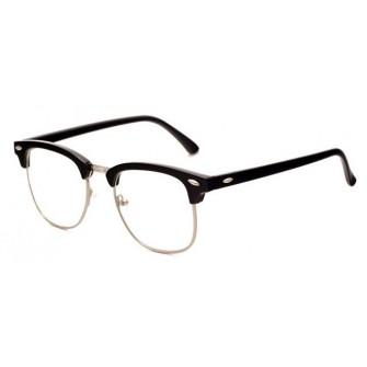 Ochelari - Rame cu lentile transparente Retro Negre - Argintiu