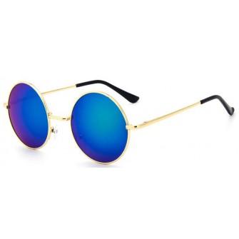 Ochelari de soare Rotunzi Retro John Lennon Albastru Reflexii - Auriu