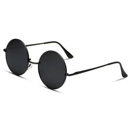 Ochelari de soare Rotunzi Retro John Lennon Negru cu Negru