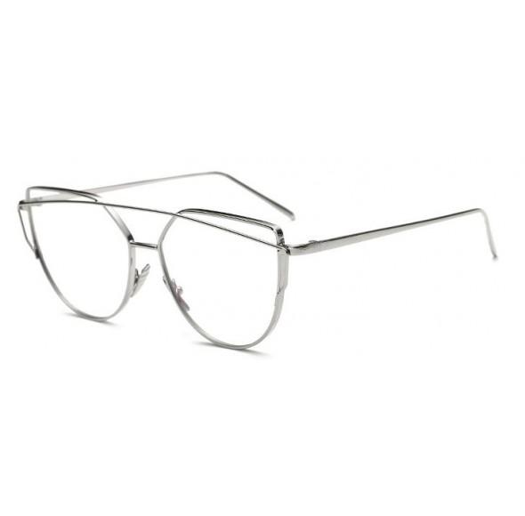 Rame - Ochelari cu lentile transparente  Ochi de Pisica Argintiu