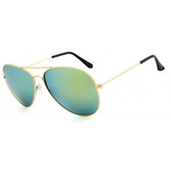 Ochelari de soare Aviator Verde cu reflexii - Auriu - Polarizati