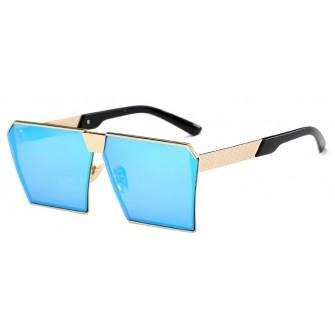 Ochelari de soare Rectangular Plat Oglinda Albastru - Auriu