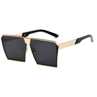 Ochelari de soare Rectangular Plat Oglinda Negru - Auriu