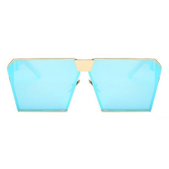 Ochelari de soare Rectangular Plat Oglinda Albastru cu Auriu