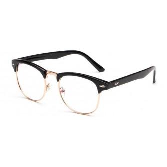 Ochelari - Rame cu lentile transparente Clubmaster Retro Negre-Auriu