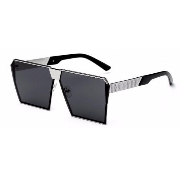 Ochelari de soare Rectangular Plat Oglinda Negru - Argintiu