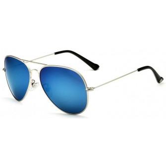 Ochelari de soare Aviator Bleu Oglinda - Argintiu