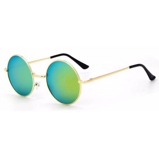 Ochelari de soare Rotunzi Retro John Lennon Verde reflexii cu Auriu