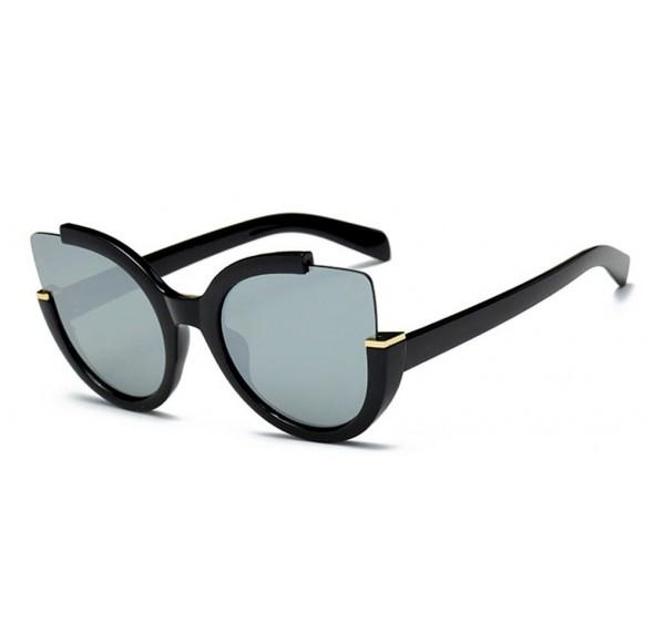 Ochelari de soare Ochi de Pisica Gri Oglinda - Negru
