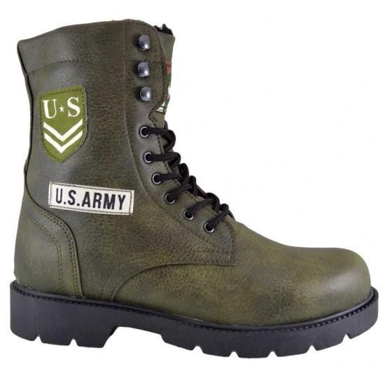 Bocanci Barbati Verde Army US ARMY Inalti cu Sireturi si Fermoar
