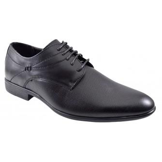 Pantofi negri barbati eleganti Infinity Lines