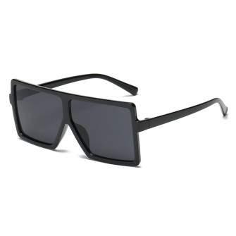 Ochelari de soare Rectangular Plat Supradimensionati Negru