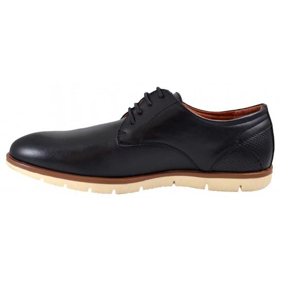Pantofi negri barbati cu calcai performat si talpa crem