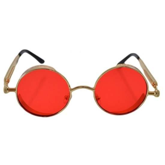Ochelari de soare Rotunzi Steampunk Cronic Rosu cu Auriu