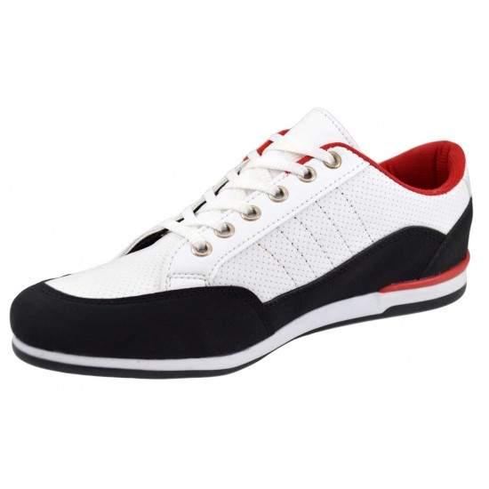Pantofi Barbati Casual-Sport albi insertii negre si rosii