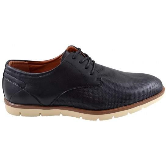 Pantofi negri barbati perforati cu talpa crem II