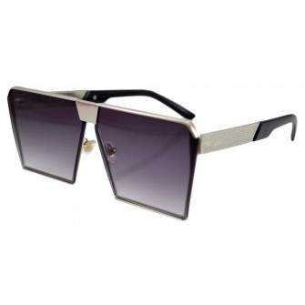 Ochelari de soare Rectangular Plat Gri Argintiu cu lentila degrade